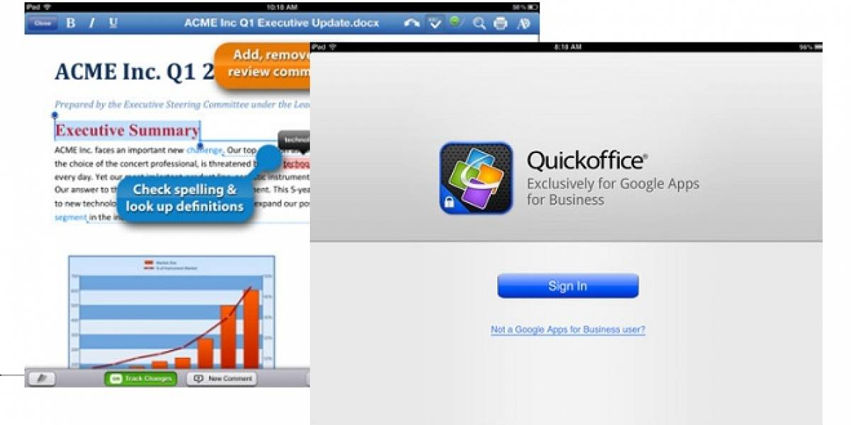 Quickoffice gratis con Google Drive para iPad ya disponible, pero no para todos
