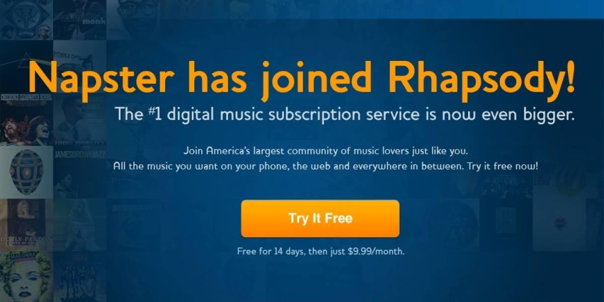 Napster se fusiona definitivamente con Rhapsody, llegando a su fin