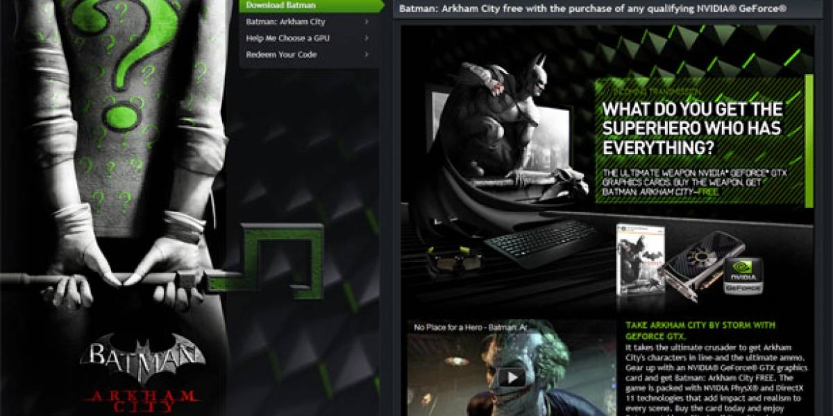NVIDIA regala Batman: Arkham City por comprar una GeForce GTX