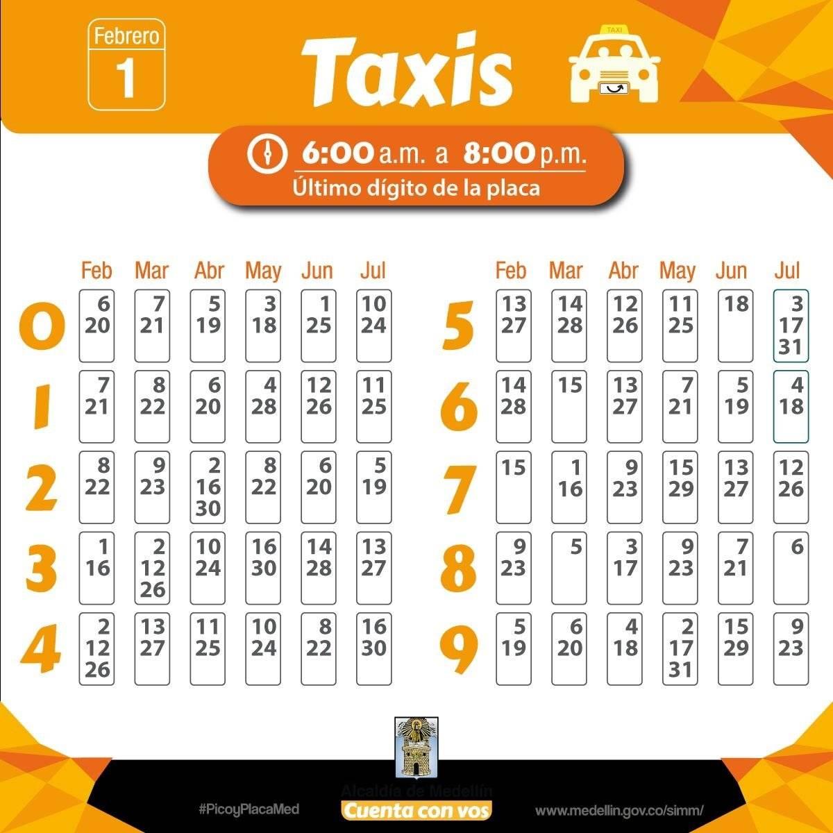 Pico y placa Medellín taxis