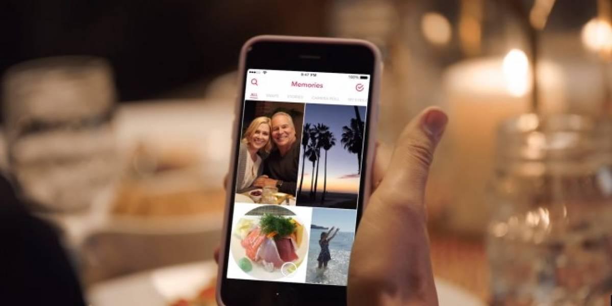 Snapchat permitirá almacenar tus Snaps e historias en Memories
