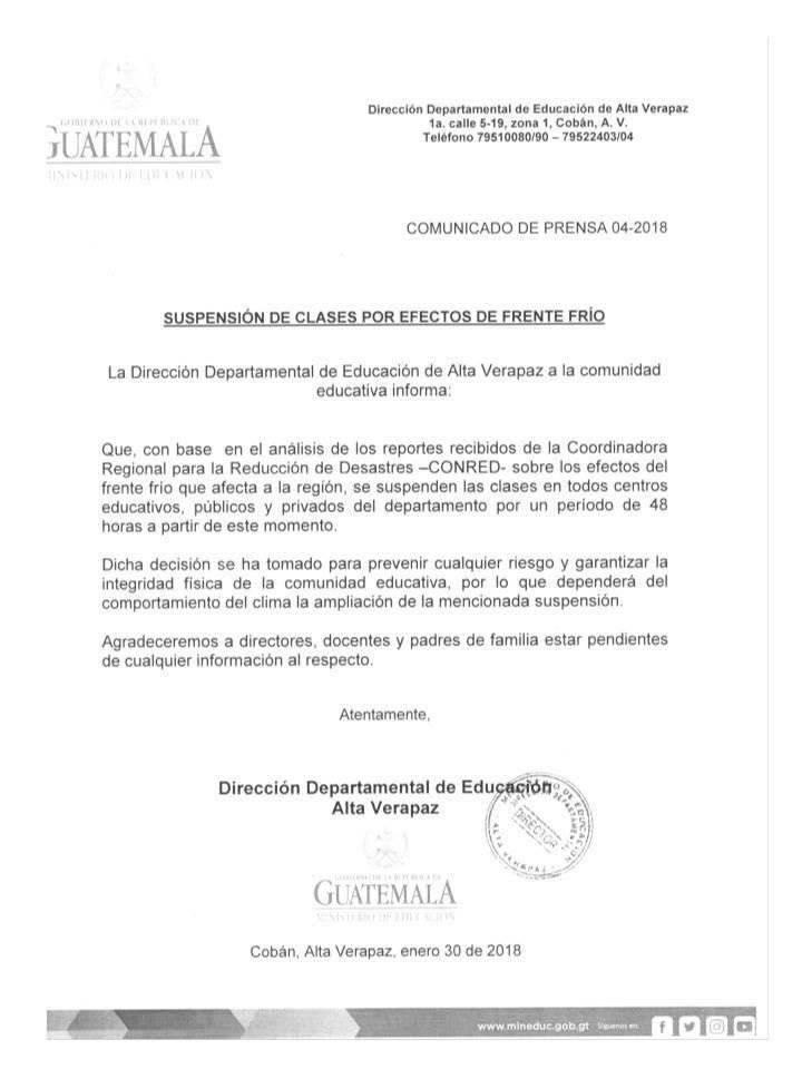 suspenden clases en Alta Verapaz