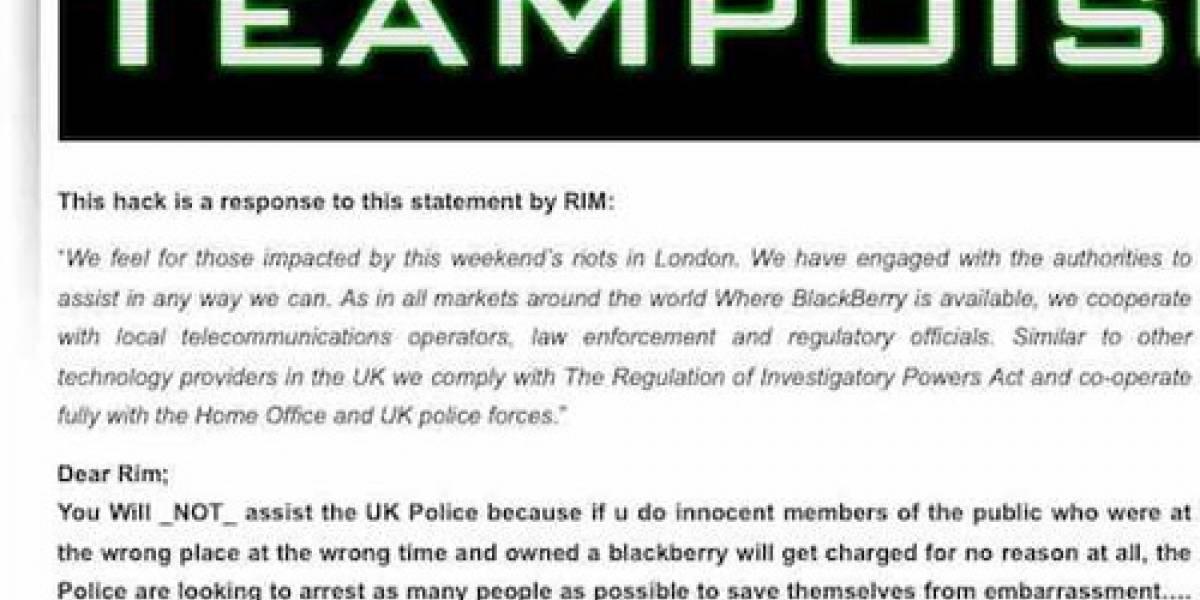 TeaMp0isoN irrumpe sitio web de RIM a favor de la libertad de los usuarios
