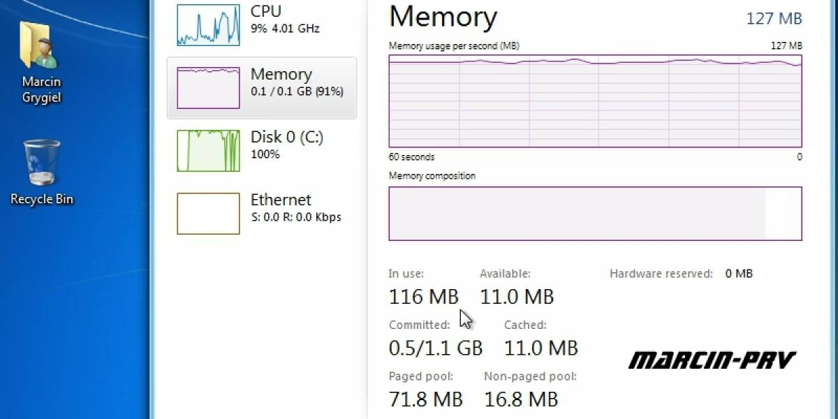 Windows 8 corriendo en máquina con 128MB de RAM