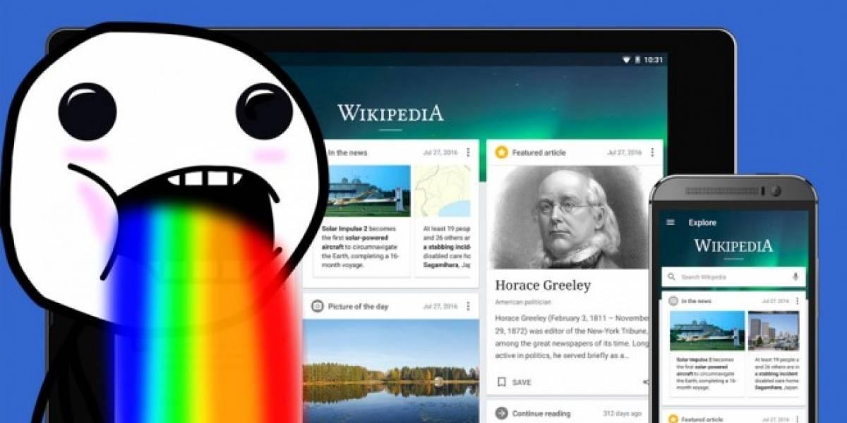 Wikipedia rediseña completamente su app para Android