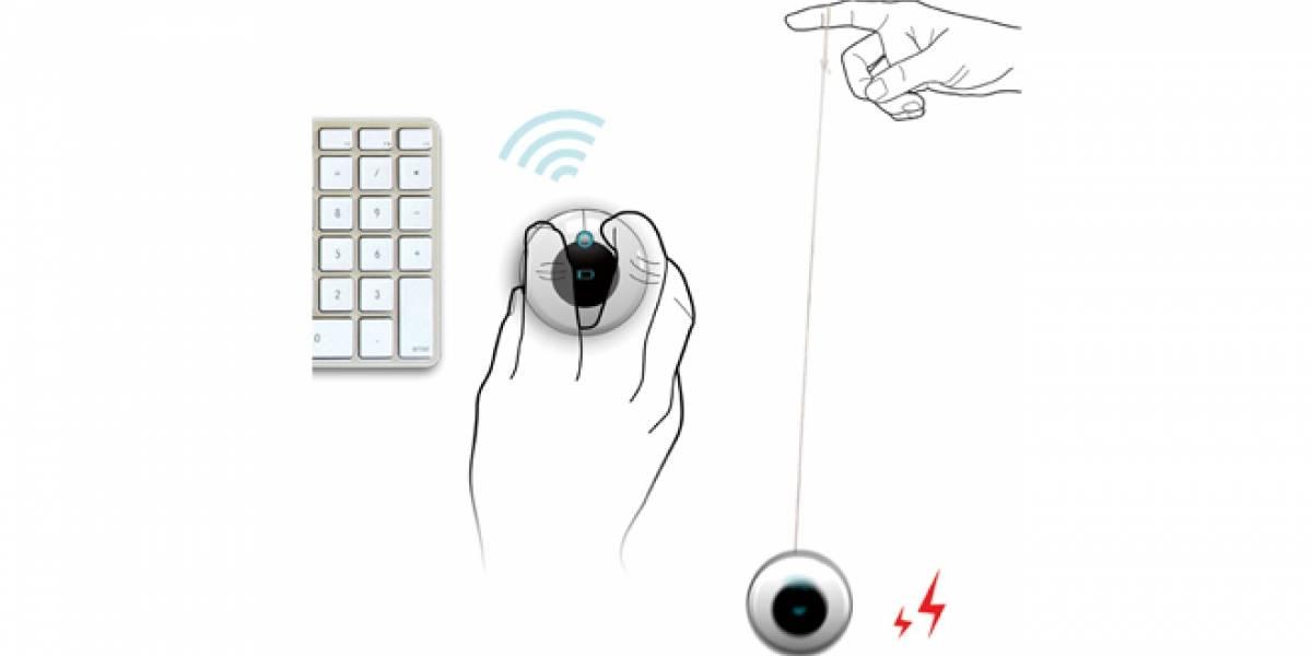 Concepto: El mouse inalámbrico tipo Yo-Yo que se recarga al jugar