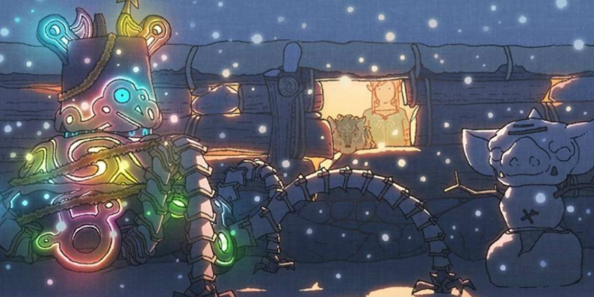 Mira este arte de Zelda: Breath of the Wild deseando felices fiestas