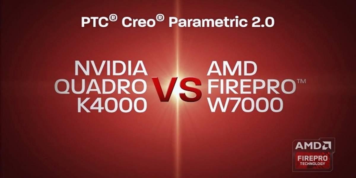 AMD FirePro serie W  versus Nvidia Quadro serie K, con PTC Creo Parametric 2.0