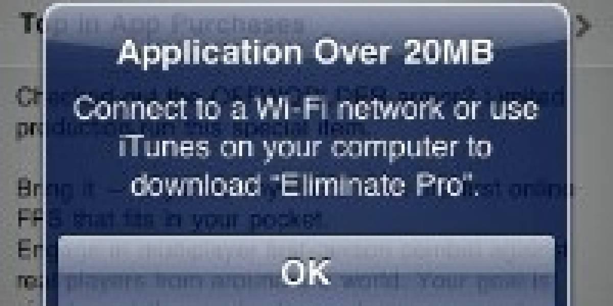 Apple aumenta el límite de descarga móvil desde la App Store