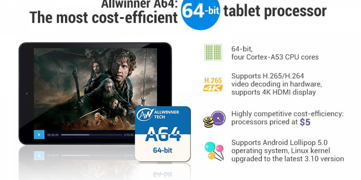 AllWinner A64: CPU de 4 cores por 5 dolares para tabletas