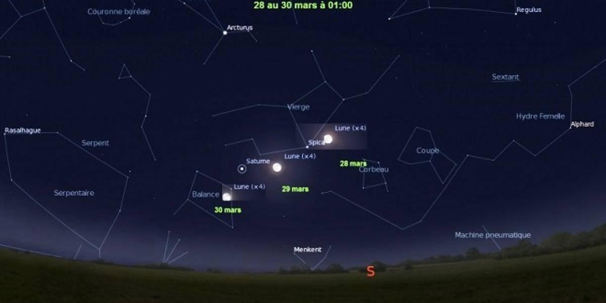 Este jueves, 28 de marzo la Luna saldrá acompañada de dos astros brillantes: Saturno y la estrella Spica