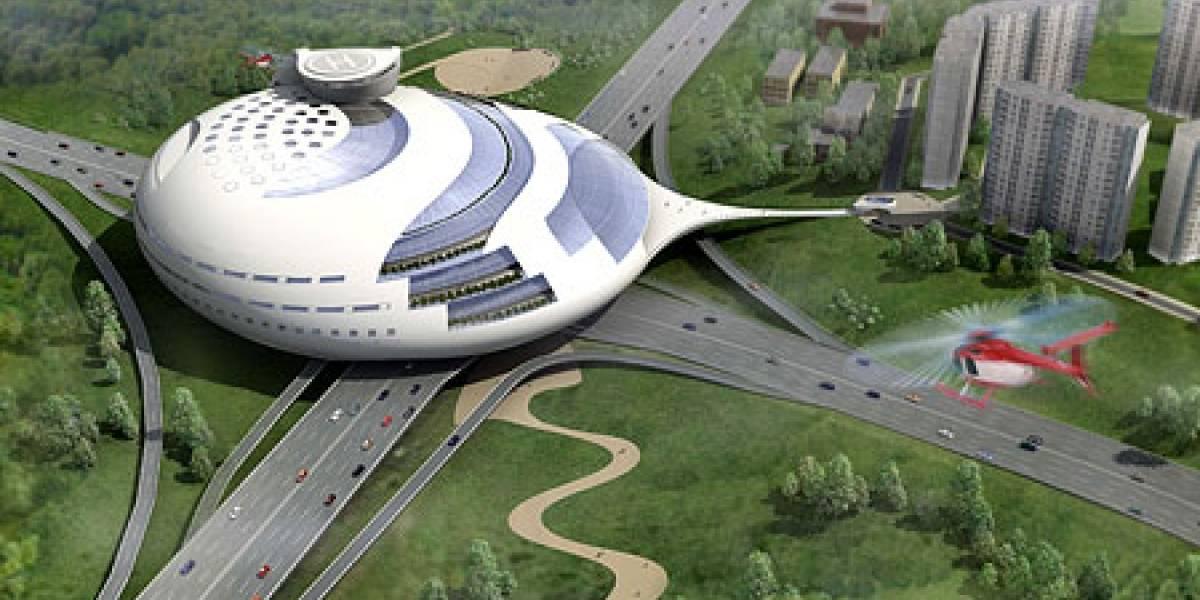 Gigantesco OVNI con forma de edificio aterriza en Moscú