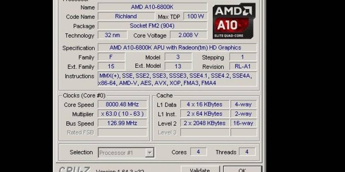 """APU AMD A10-6800K """"Richland-DT"""" es overclockeado a 8.0GHz"""
