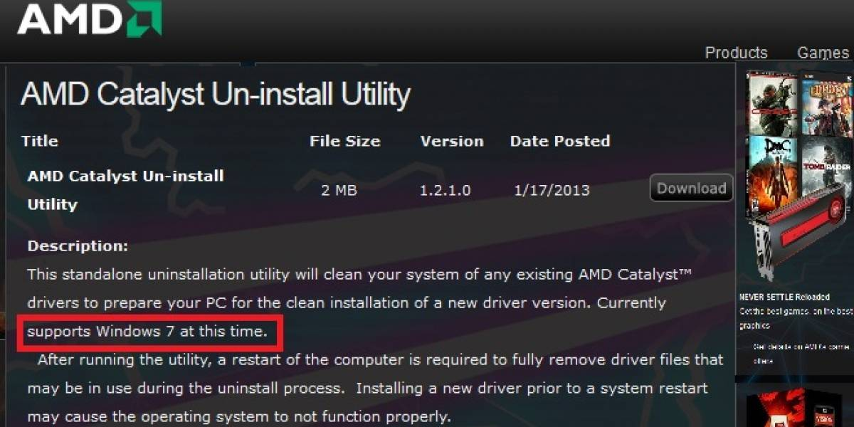 Problemas con AMD Catalyst Un-install Utility 1.2.1.0 y Windows 8