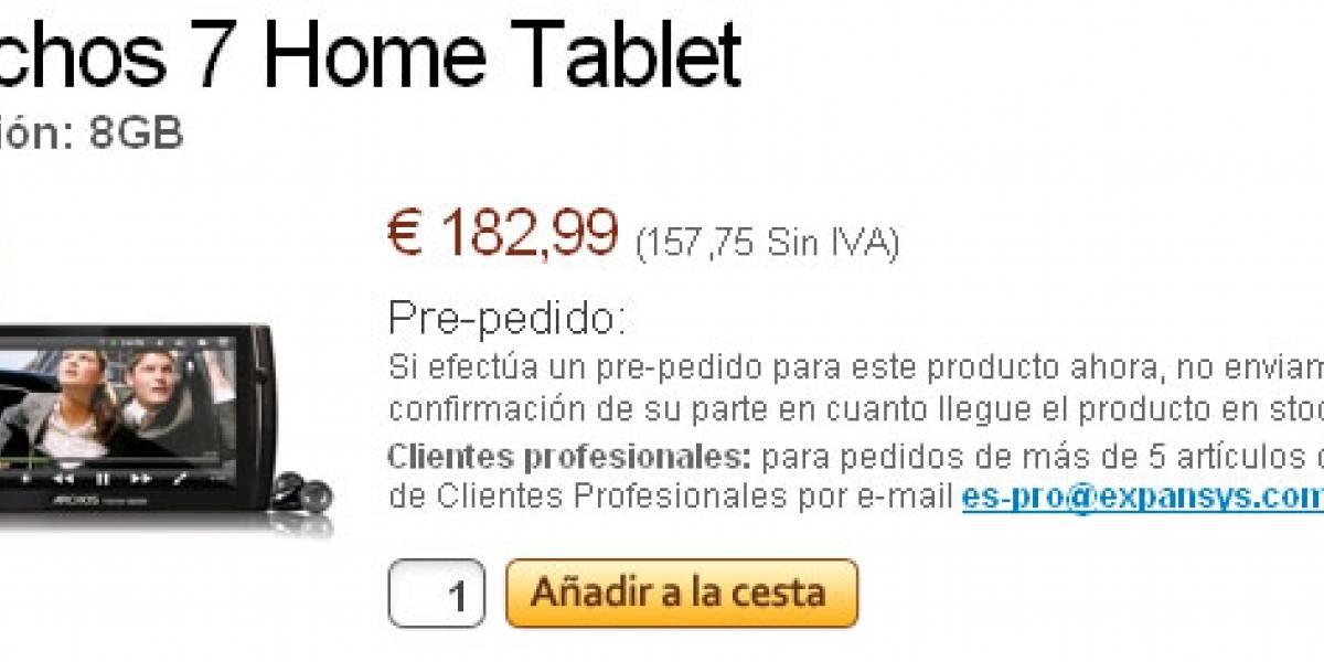 Archos 7 Home Tablet ya se puede reservar por EUR€183