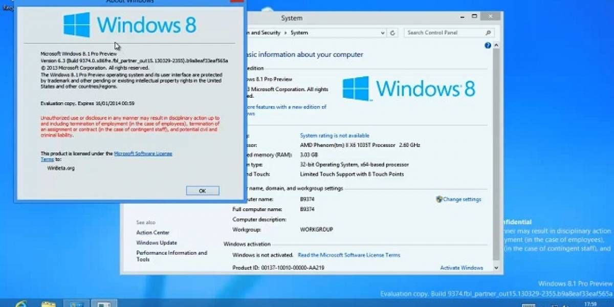 Se filtra Windows 8.1 Pro build 9374