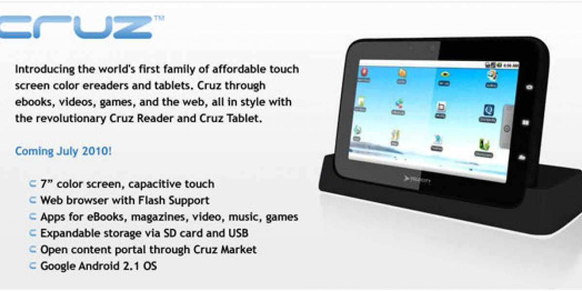 Velocity Micro Cruz, un tablet con Android 2.1 y Flash 10.1
