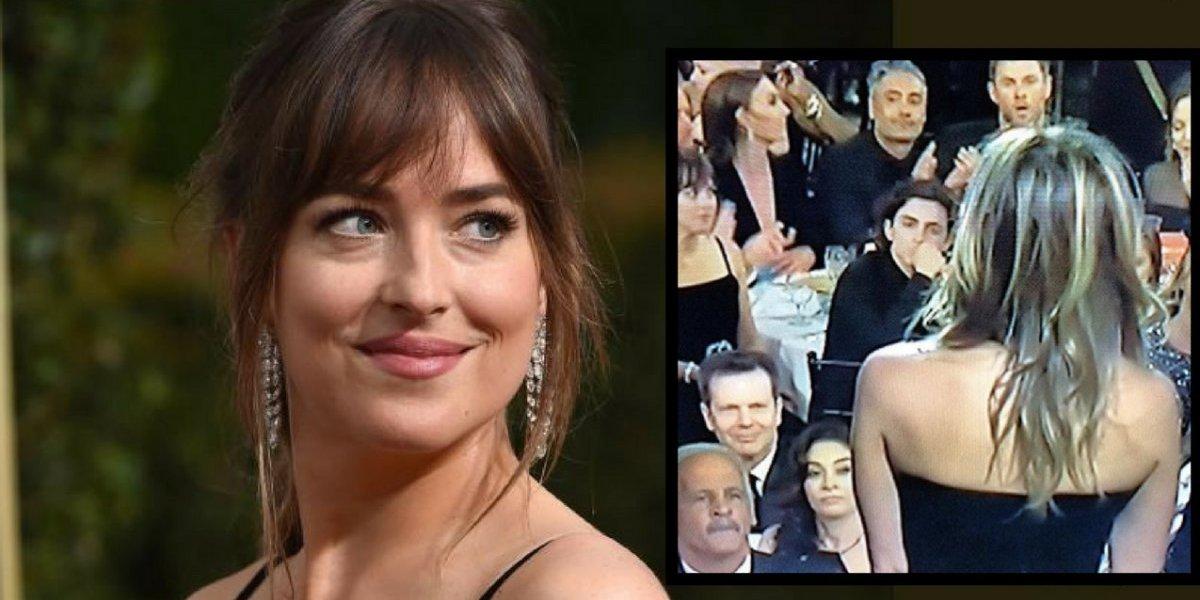 Dakota Johnson explica sua reação ao ver Angelina Jolie e Jennifer Aniston no Globo de Ouro