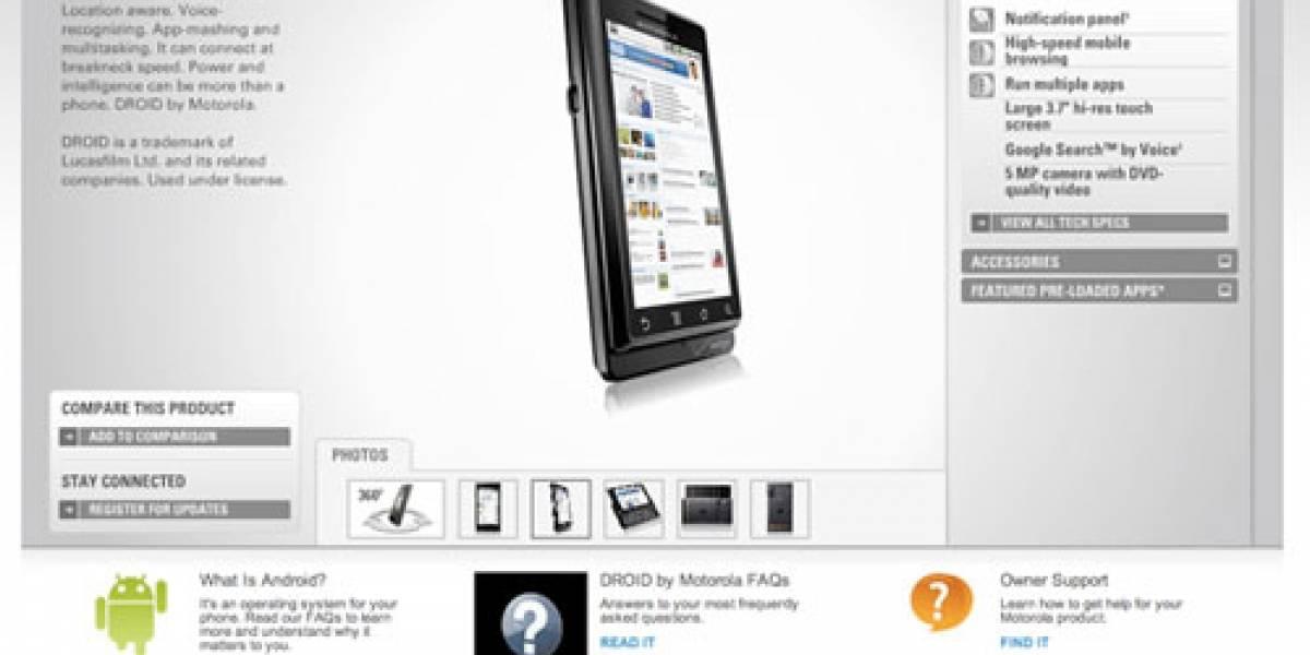 Motorola Droid llega al sitio oficial de Motorola