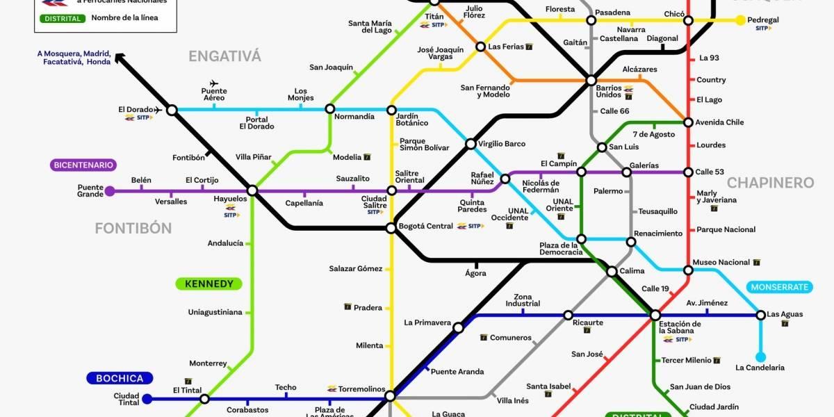 Las vías de metro que propone un ciudadano para Bogotá