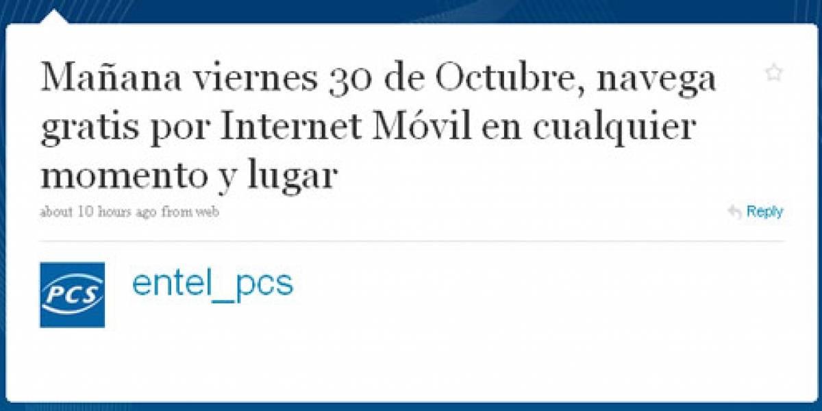 Entel PCS: Navega nuevamente gratis por un día (30 de octubre)