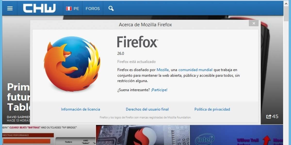 Mozilla lanza su navegador web Firefox 26.0