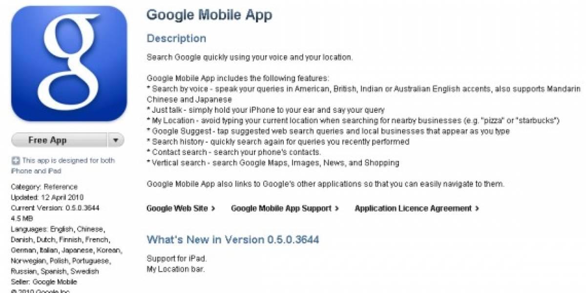 Google lleva su Mobile App al iPad