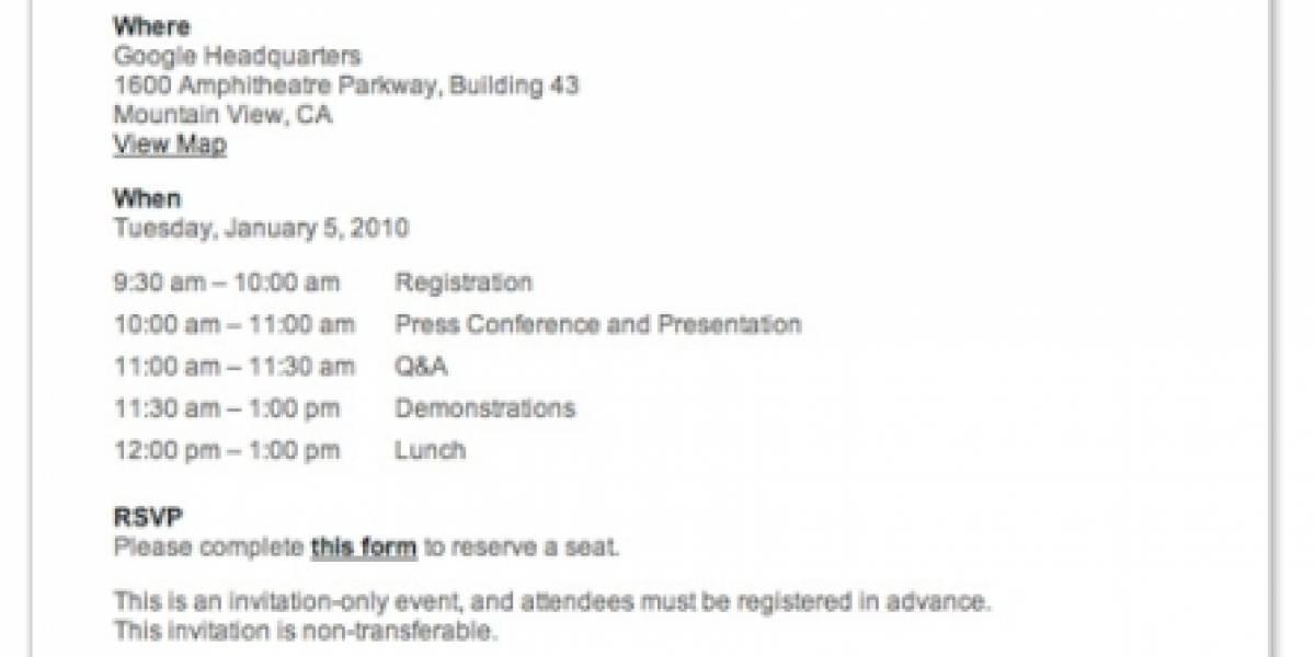 Google anuncia un evento de prensa para el próximo 5 de Enero