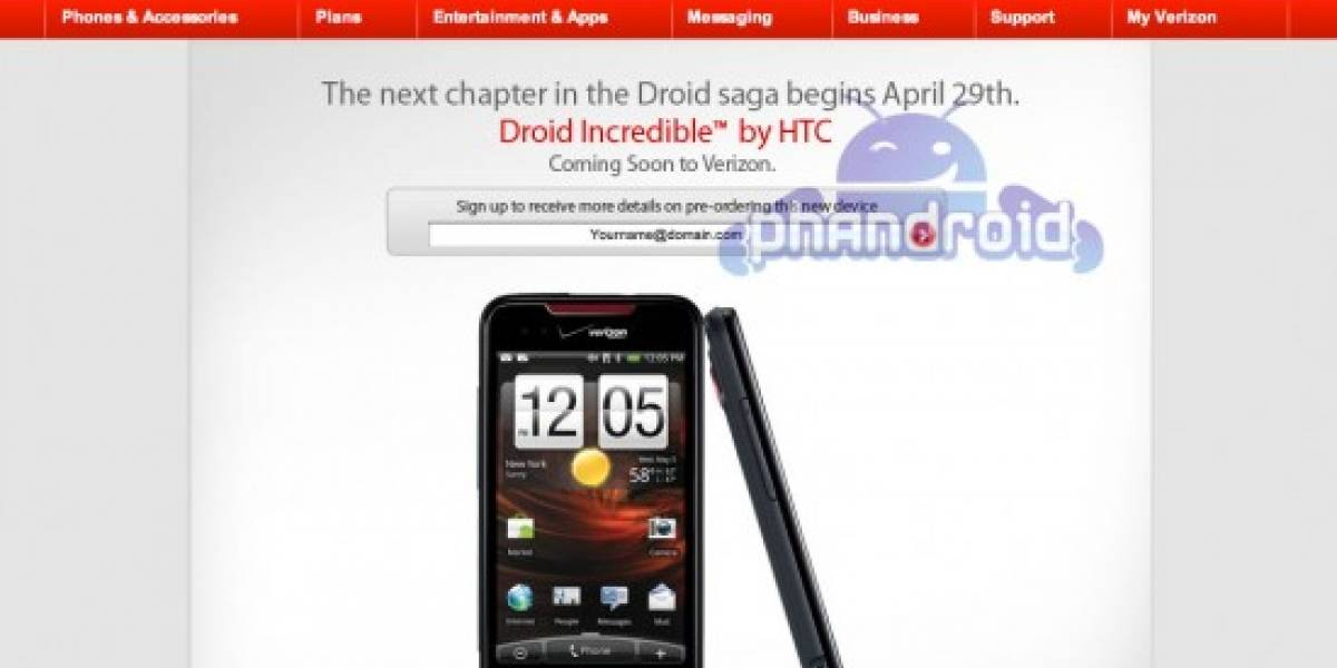 HTC Incredible aparece en el sitio web de Verizon
