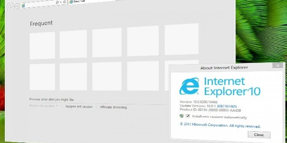 Microsoft Internet Explorer 10 para Windows 7 sufre de algunos bug