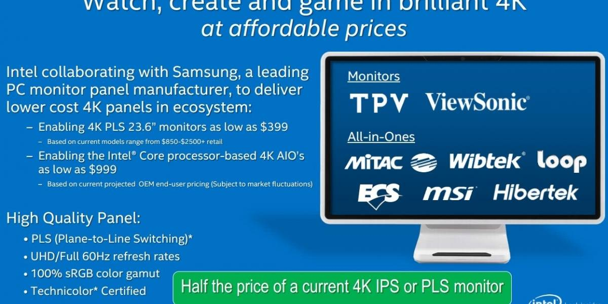 Intel promete PCs Todo-En-1 4K y monitores 4K a precios sub-USD$ 1000/400