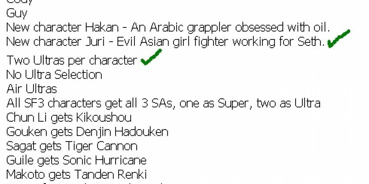 Video de Hakan completando el roster de personajes de SSFIV