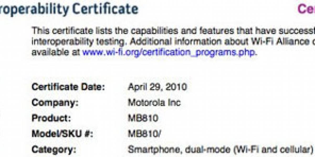Motorola MB810 recibe certificación Wi-Fi