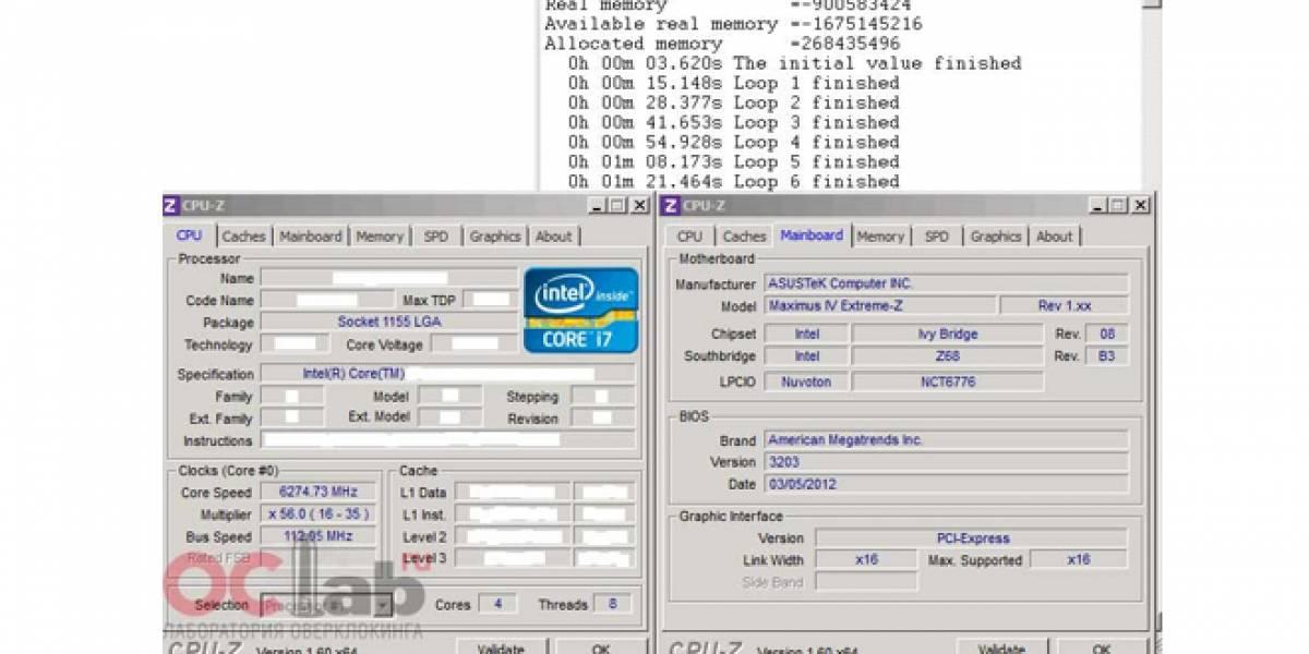 Llevan una CPU Intel Core i7-3770K Ivy Bridge hasta los 6.274GHz