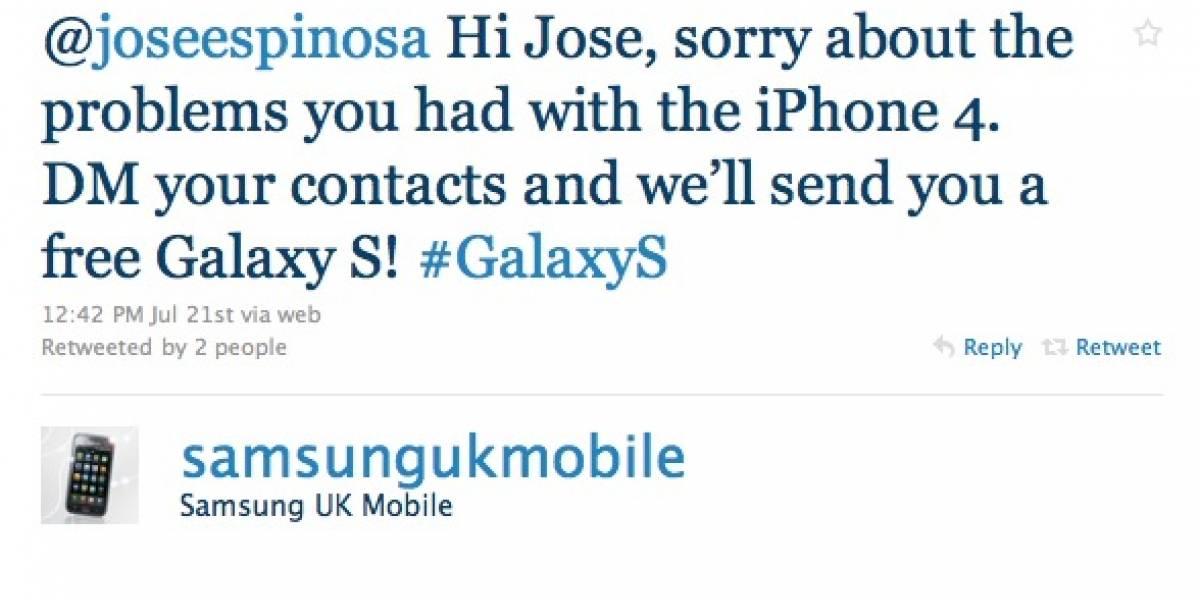 Samsung provoca a Apple regalando móviles Galaxy S vía Twitter