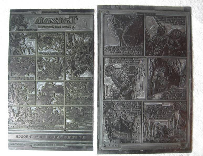 """Tarzan - placas de impressão com histórias do Tarzan utilizadas na produção das revistas """"Sparkler Comics"""" nº 48 (de outubro de 1945) e nº 95 (de outubro de 1950) Reprodução"""