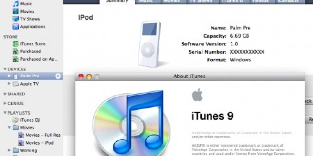WebOS 1.2.1 nuevamente permite al Prē sincronizar con iTunes