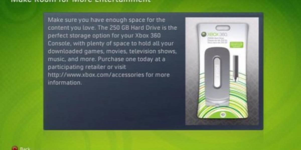 Xbox Live confirma la venta por separado del disco de 250gb
