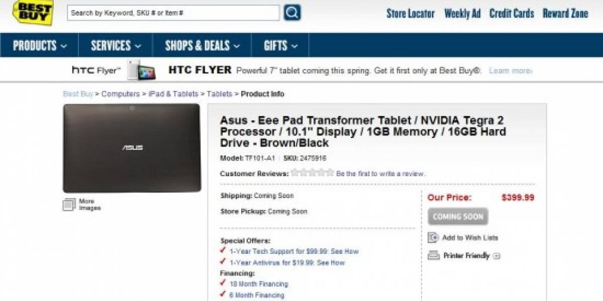 BestBuy filtró (por un rato) el precio de la EEE Pad Transformer: USD 400