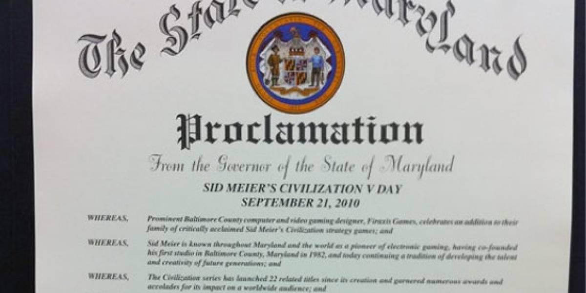 Maryland proclama el día oficial de Civilization V
