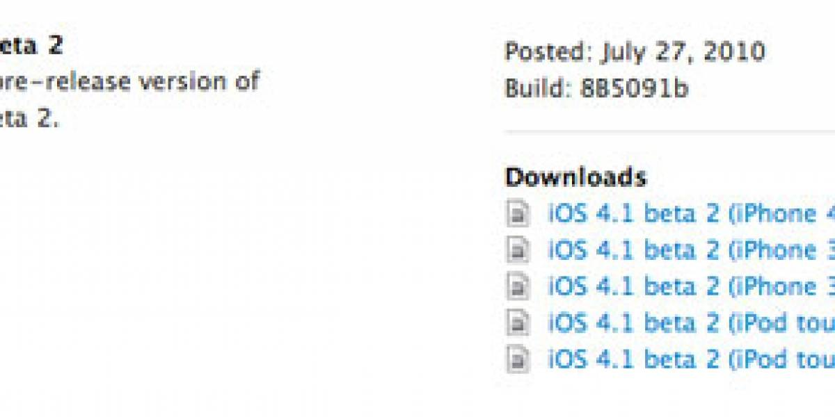 Desarrolladores, ya esta disponible Apple iOS 4.1 beta 2