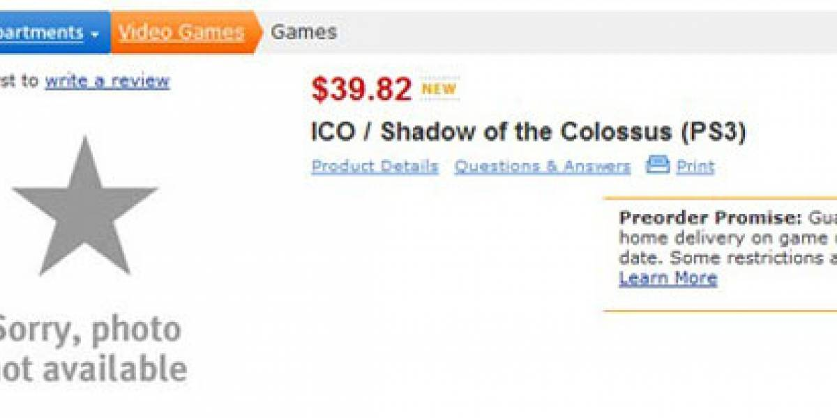 Paquete con ICO y Shadow of the Colossus es listado en Walmart.com