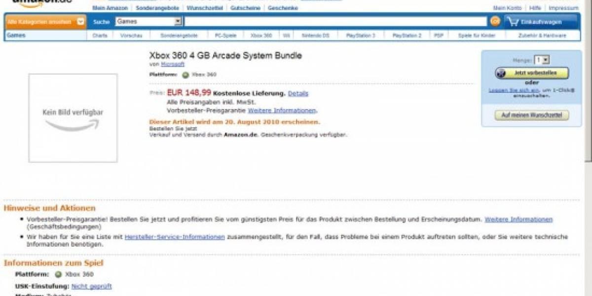 Avistamiento: Xbox 360 Arcade de 4GB aparece en Amazon de Alemania