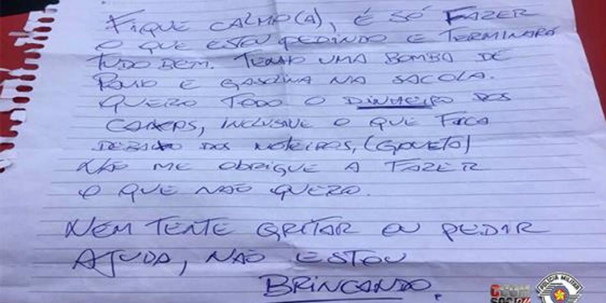 Homem que usava bilhete para anunciar assalto é preso em São Bernardo