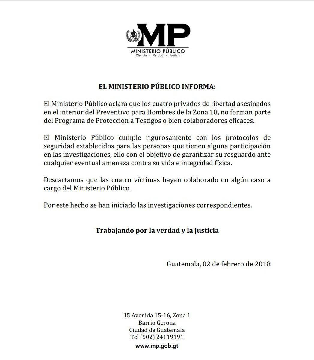Comunicado MP por muerte de reos
