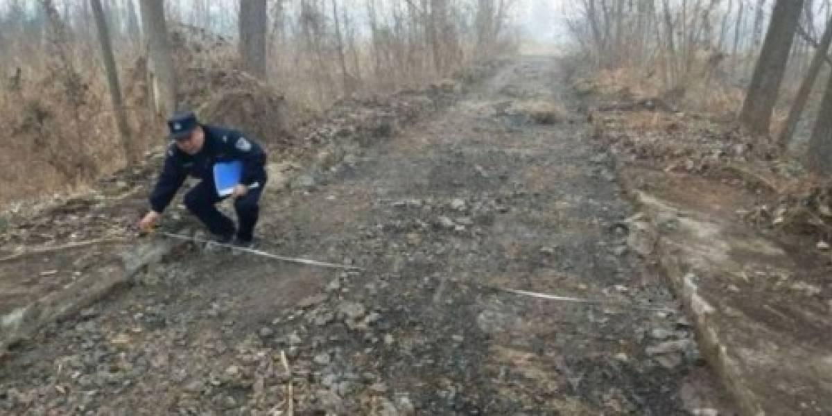 Chino roba 800 metros de una carretera para revender el cemento