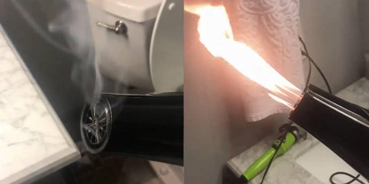 Video: Mujer compra secador de pelo y al prenderlo arde en llamas