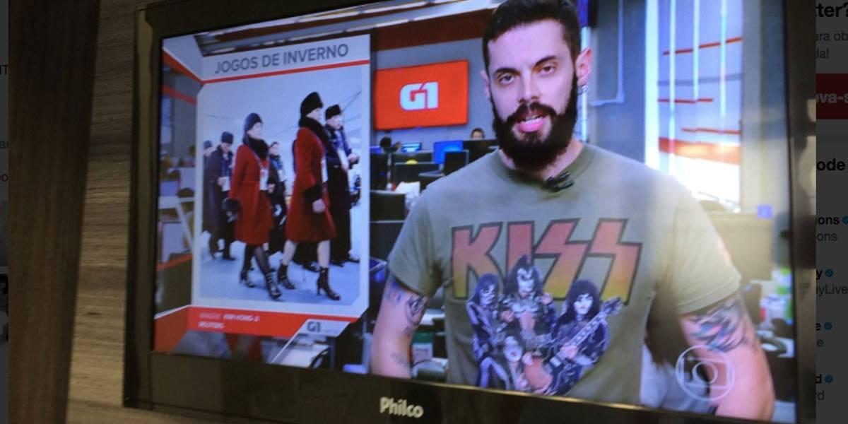 Kiss publica em perfil oficial foto de repórter da Globo usando camiseta da banda