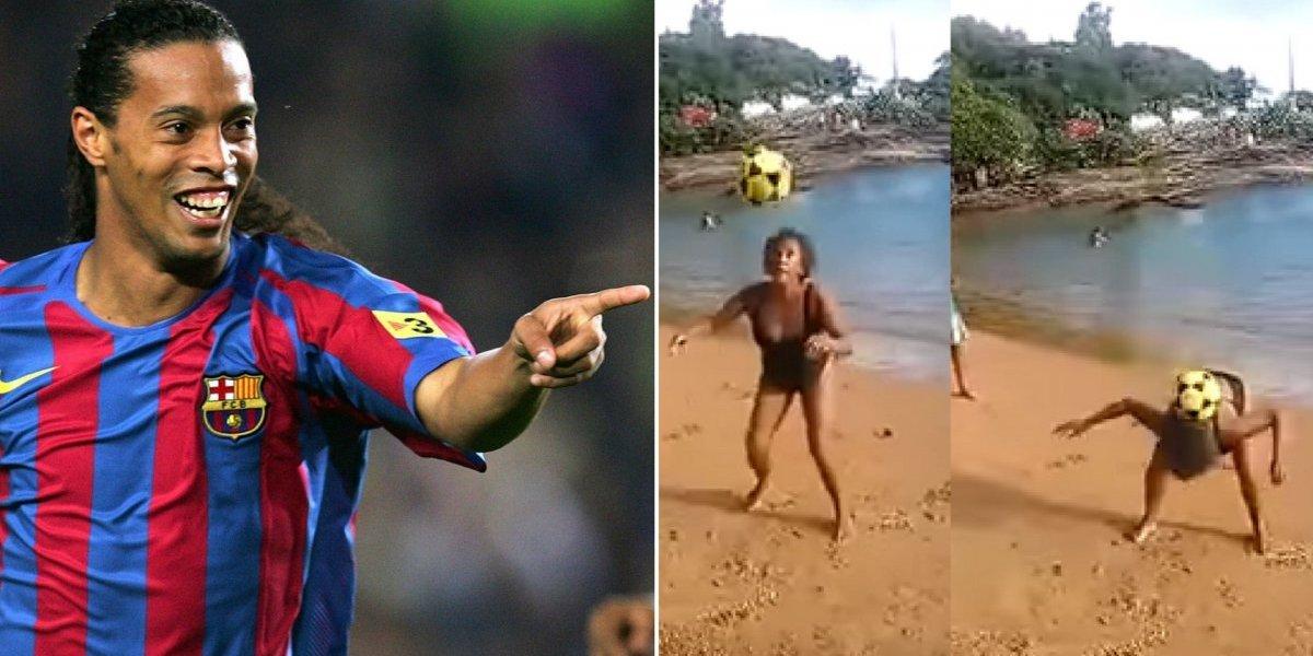 Vó do Ronaldinho: idosa surpreende fazendo embaixadinhas na praia