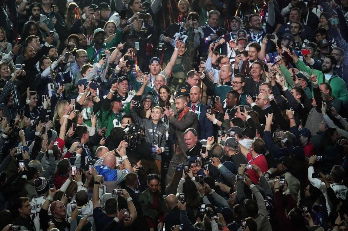 Justin Timberlake protagonizó el Halftime Show del Super Bowl. Foto: AFP